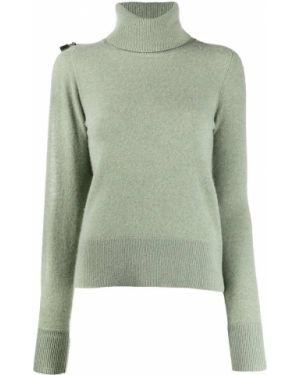 Зеленый шерстяной вязаный свитер в рубчик Christopher Kane