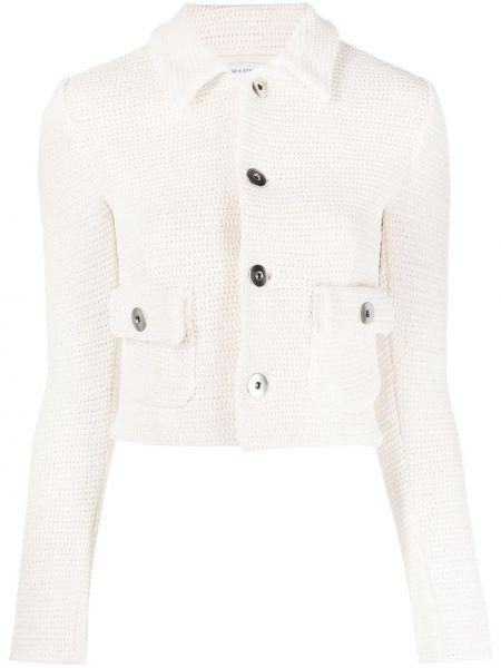 Вязаный белый классический пиджак с воротником Bottega Veneta