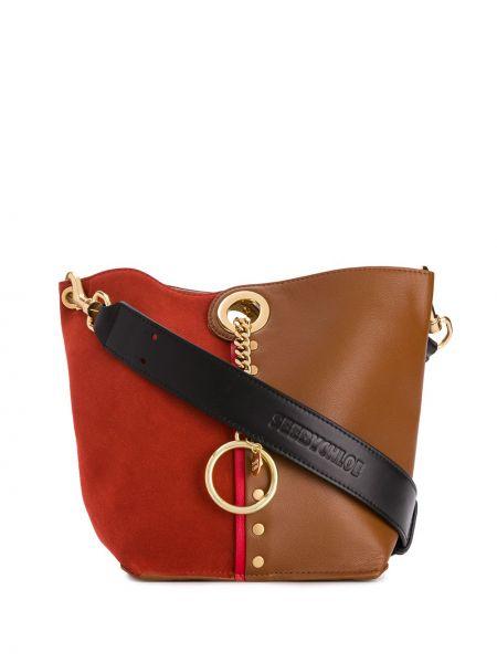 Кожаная сумка круглая на плечо See By Chloé