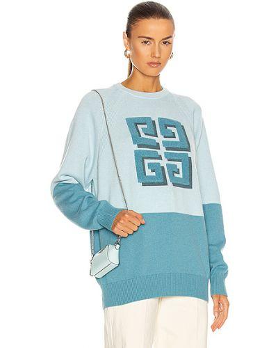 Niebieski z kaszmiru sweter z raglanowymi rękawami Givenchy
