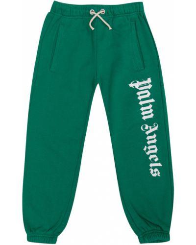 Spodnie dresowe z printem - zielone Palm Angels