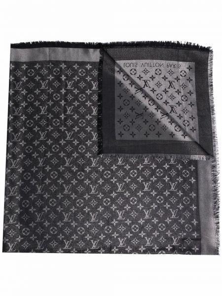 Шерстяной черный платок винтажный Louis Vuitton