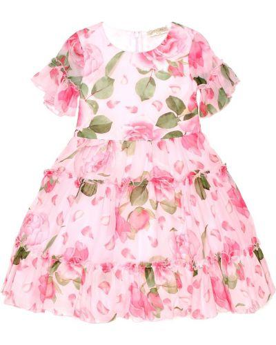 Платье розовое с цветочным принтом Monnalisa