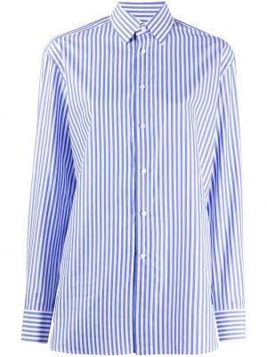 С рукавами синяя классическая рубашка с воротником на пуговицах Ralph Lauren