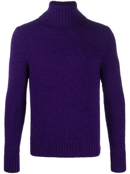 Fioletowy sweter wełniany z długimi rękawami Ami