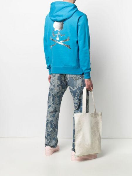 Niebieska bluza długa z kapturem z długimi rękawami Mastermind World