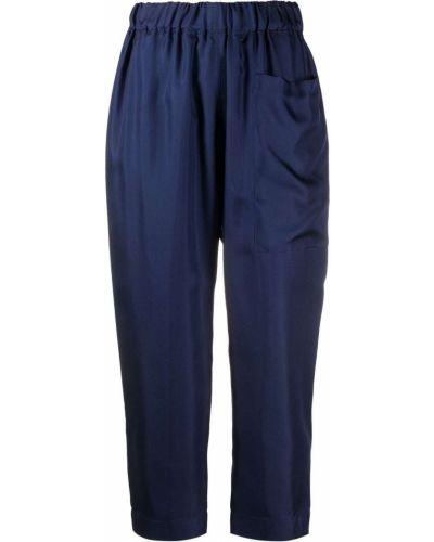 Шелковые синие укороченные брюки с карманами Sofie D'hoore