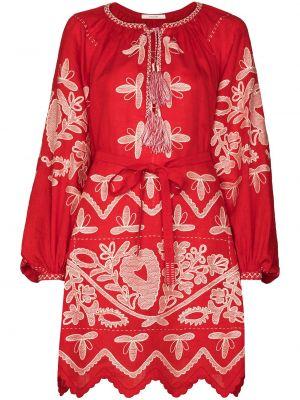 С рукавами красное платье с вырезом Vita Kin