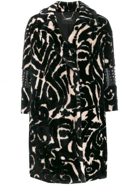 Czarny płaszcz skórzany z długimi rękawami John Richmond