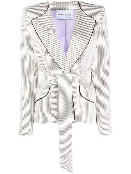 Шелковая белая куртка с поясом с лацканами Hebe Studio