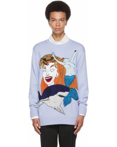 Niebieski sweter wełniany Burberry