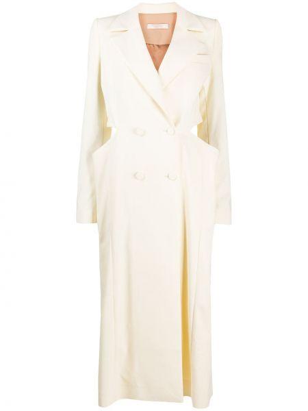 Длинное пальто с капюшоном двубортное с воротником Ssheena