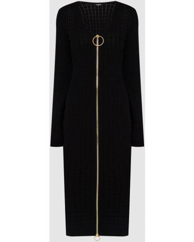 Платье миди - черное Balmain