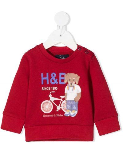 С рукавами красный свитшот круглый с круглым вырезом Harmont & Blaine Junior