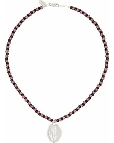 Naszyjnik z pereł srebrny - czarny Santangelo