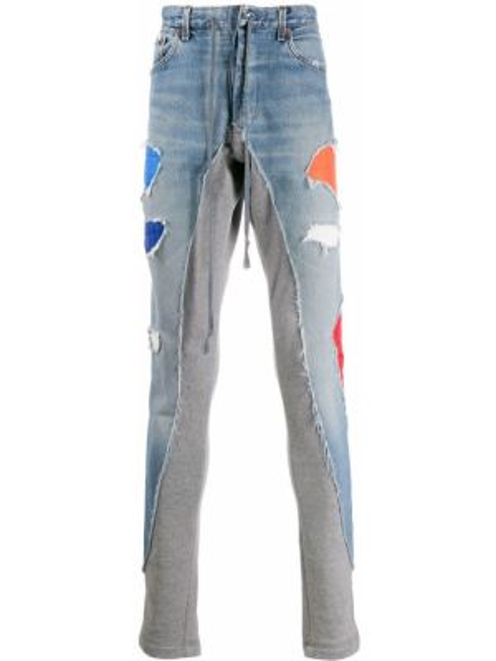 Niebieskie jeansy bawełniane z paskiem Greg Lauren