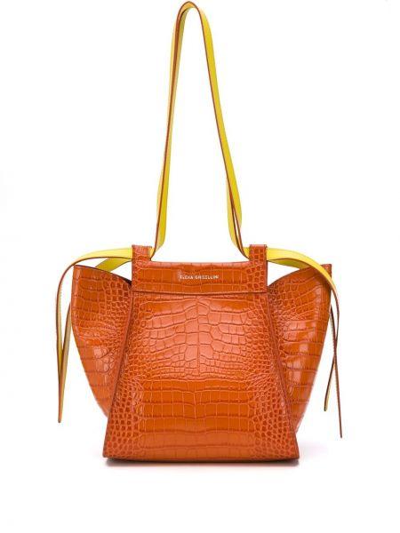Кожаная коричневая мешковатая сумка-тоут с карманами Elena Ghisellini