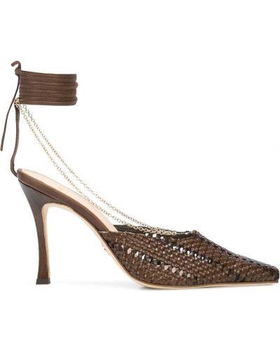 Кожаные коричневые туфли на высоком каблуке на каблуке с завязками Brother Vellies