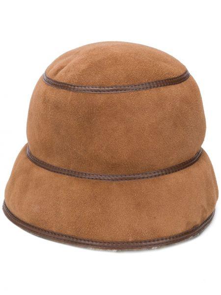 Brązowy kapelusz zamszowy Simonetta Ravizza