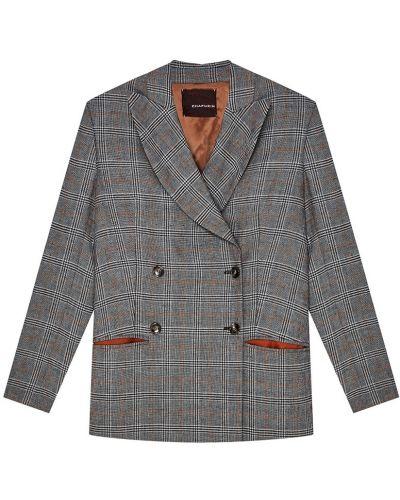 Пиджак двубортный в клетку с подкладкой Chapurin