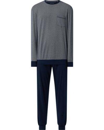 Niebieska spodni piżama bawełniana z długimi rękawami Schiesser