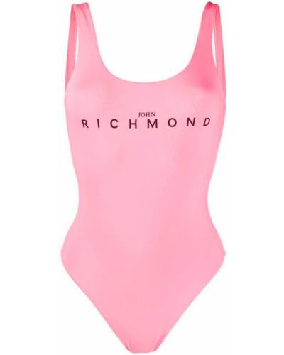 Трикотажный розовый слитный купальник с подкладкой John Richmond