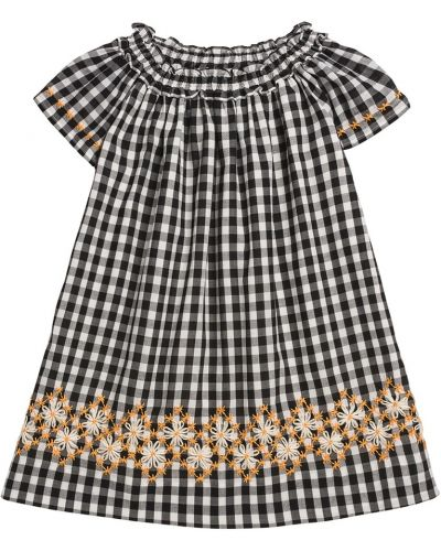 Хлопковое черное платье с вышивкой Bonpoint