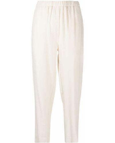 Хлопковые прямые белые укороченные брюки Tela