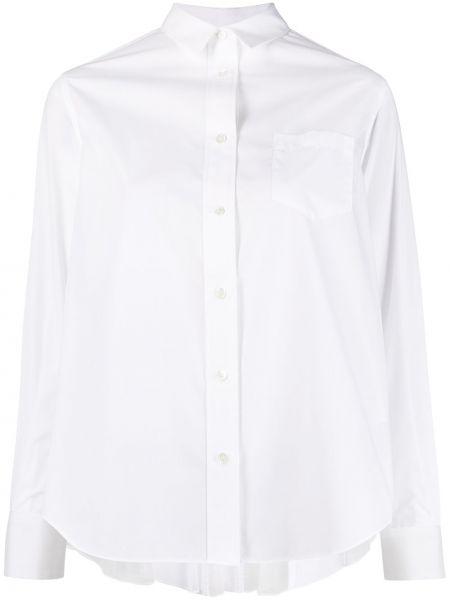 Хлопковая белая классическая рубашка с длинными рукавами Sacai