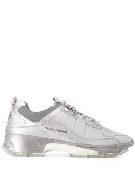 Koronkowa srebro sneakersy z prawdziwej skóry zasznurować Filling Pieces