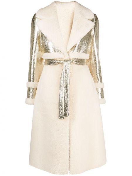 Белое кожаное длинное пальто со вставками Blancha