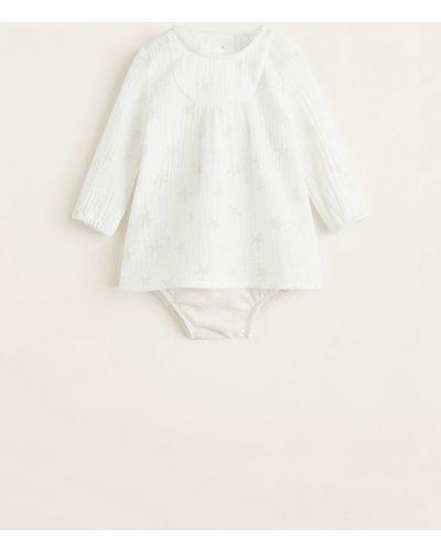 Платье с принтом хлопковое Mango Kids