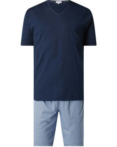 Niebieska piżamy z szortami bawełniana krótki rękaw Mey