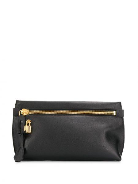 Золотистая черная кожаная сумка на молнии свободного кроя Tom Ford