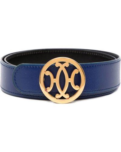 Синий кожаный ремень с пряжкой Hermès