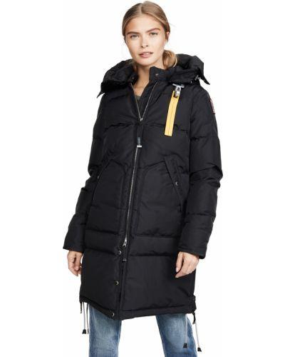 Пуховая черная длинная куртка с капюшоном Parajumpers