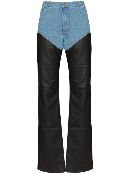 Классические кожаные черные брюки на пуговицах Telfar