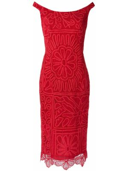 Красное приталенное ажурное платье миди без рукавов Martha Medeiros