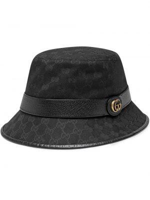 Czarny kapelusz skórzany Gucci