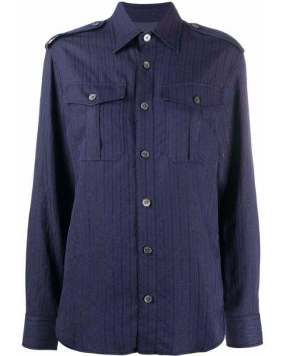 Синяя классическая рубашка с воротником металлическая на пуговицах Zadig&voltaire