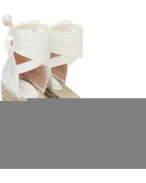 Białe espadryle na platformie skorzane Gucci