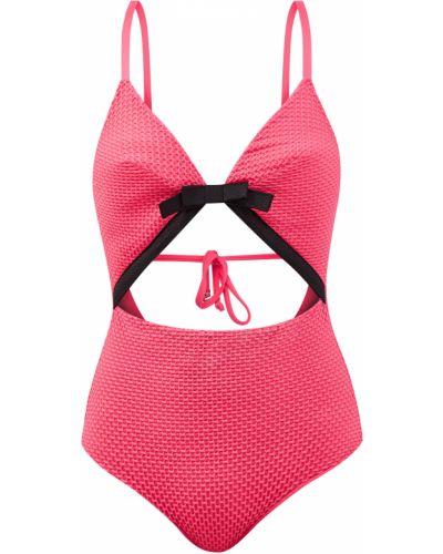 Розовый слитный купальник из микрофибры с V-образным вырезом Fisico