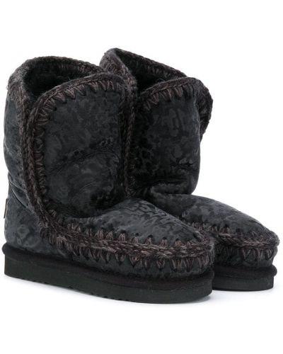 Черные зимние ботинки из овчины с подкладкой без застежки Mou Kids
