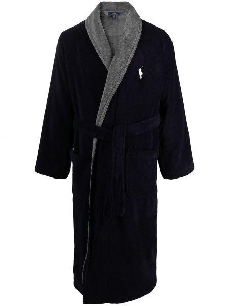 Синий хлопковый халат с завязками Polo Ralph Lauren