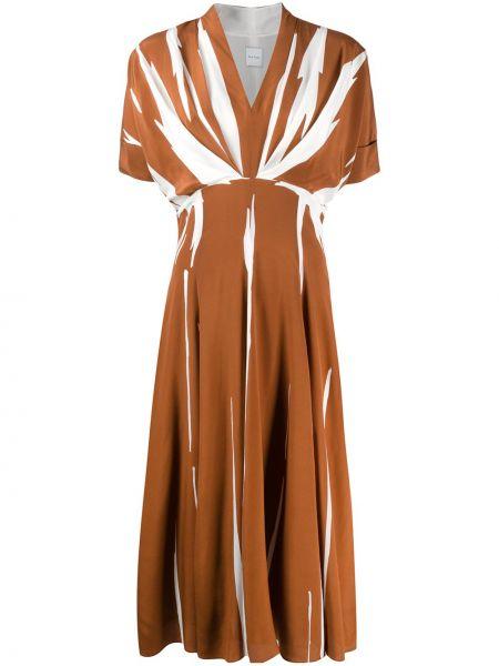 Шелковое платье миди - коричневое Paul Smith