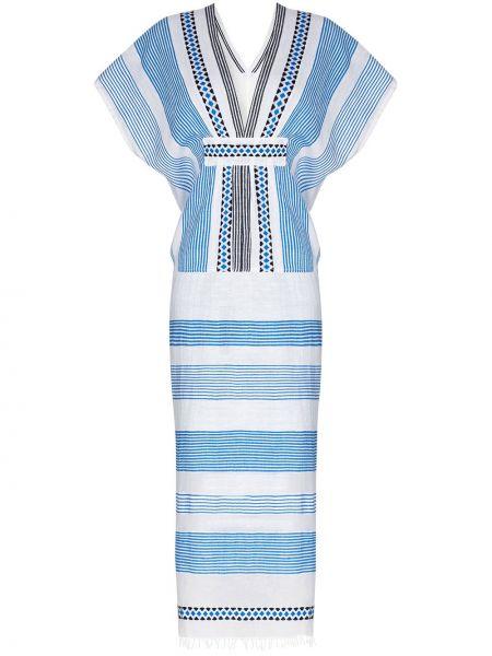 Niebieska sukienka midi krótki rękaw bawełniana Lemlem