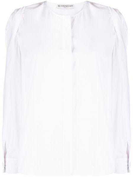 Biały jedwab bluzka zapinane na guziki z mankietami Givenchy
