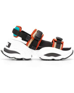 Czarne sport sandały skorzane klamry Dsquared2