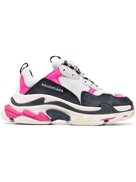 Кожаные белые кроссовки на шнуровке Balenciaga