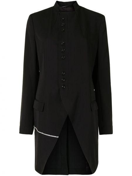 Шерстяное черное длинное пальто с воротником Y`s